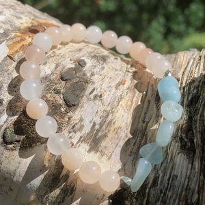 Handmade Stretch Bracelet Pink Opal and Morganite